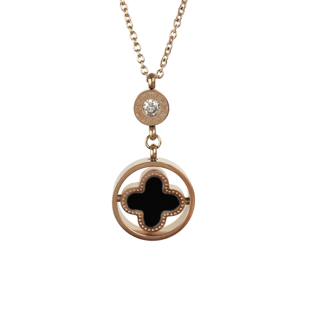 Rose Gold Black Clover Designer look Necklace - www.sparklingjewellery.com