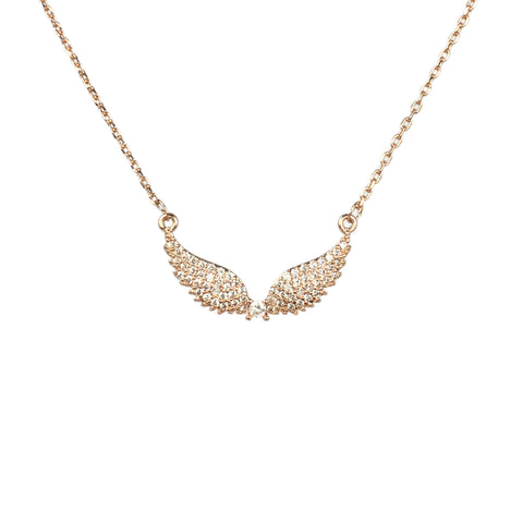 Angel Wings Necklace Rose Gold or Silver - www.sparklingjewellery.com