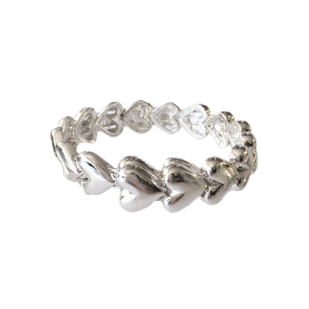 Silver Heart Bangle - www.sparklingjewellery.com