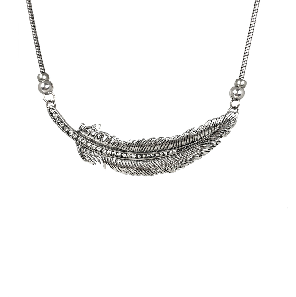 Feather from Heaven Statement Necklace - www.sparklingjewellery.com