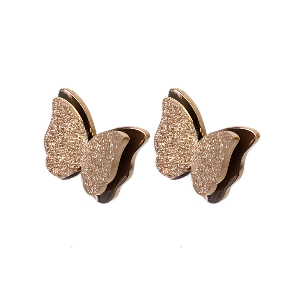 Rose Gold Butterfly Earrings - www.sparklingjewellery.com