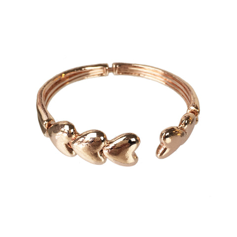 Rose Gold Heart Bangle - www.sparklingjewellery.com