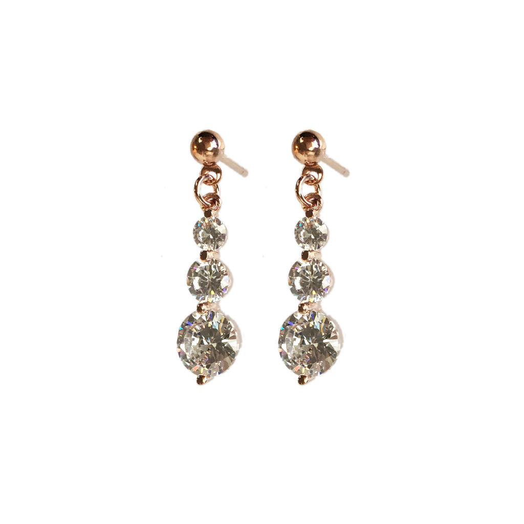 Rose Gold Sparkle Drop Earrings - www.sparklingjewellery.com