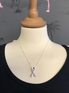 Breast Cancer Awareness Pink Sapphire Sterling Silver Ribbon Necklace