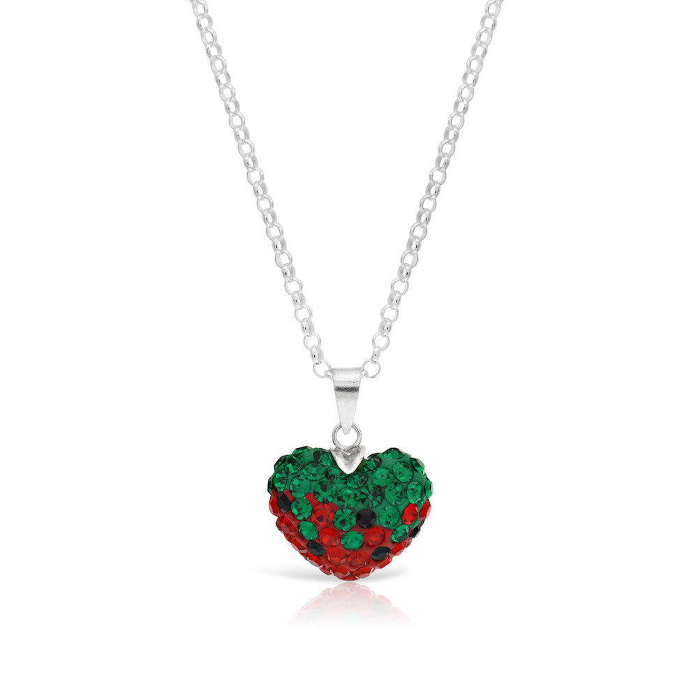 Silver Crystal Strawberry Heart Pendant