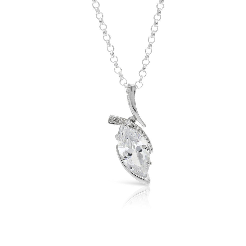 Silver Marquise Pendant - www.sparklingjewellery.com