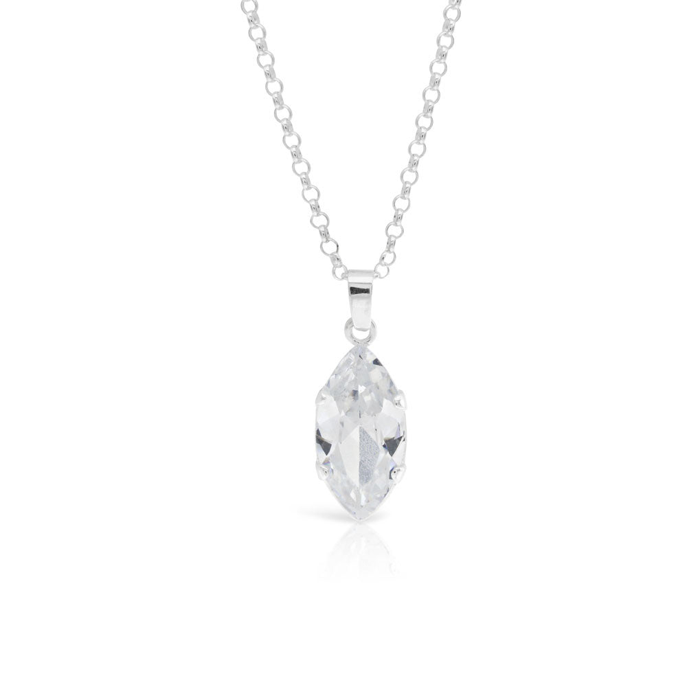 horizontal marquise diamond necklace halo