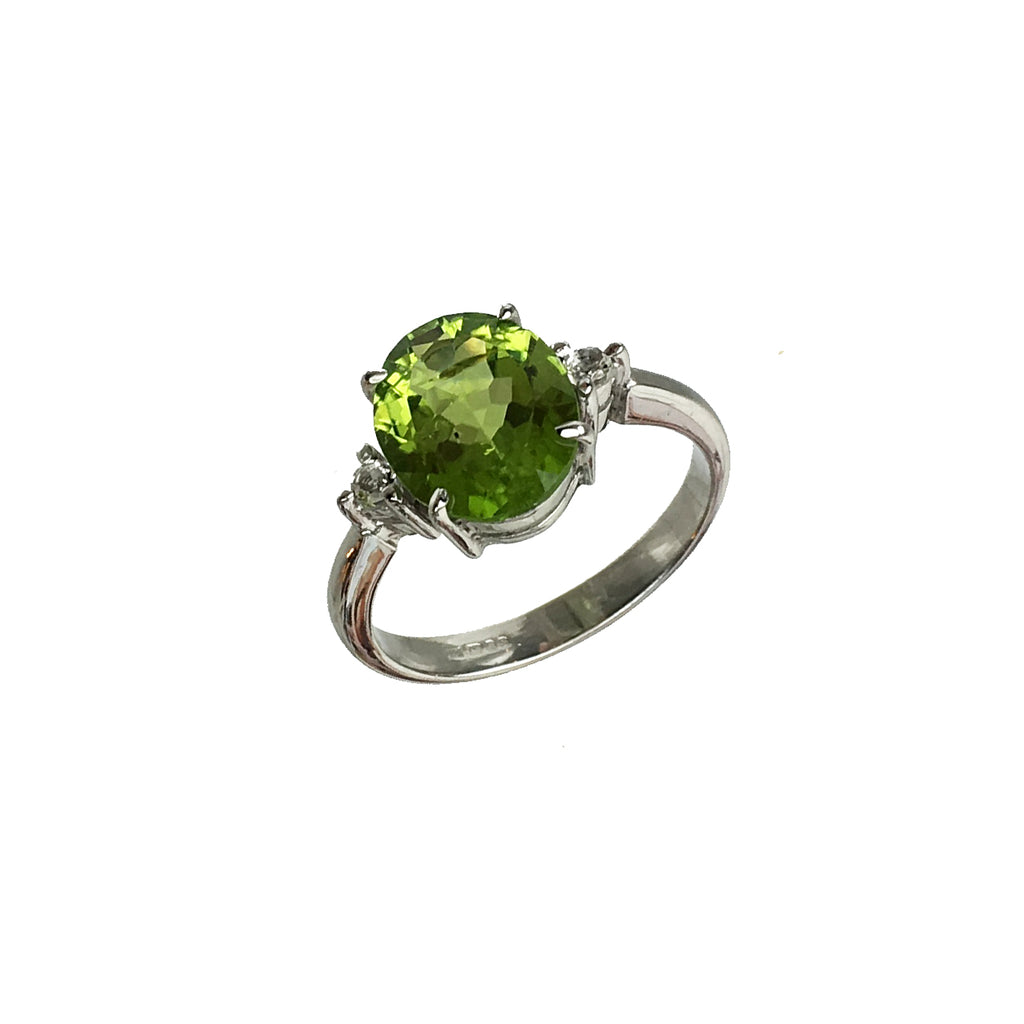 Oval Cut Peridot Green and White Topaz Ring