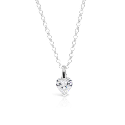 Contemporary Silver Solitaire Heart Pendant - www.sparklingjewellery.com