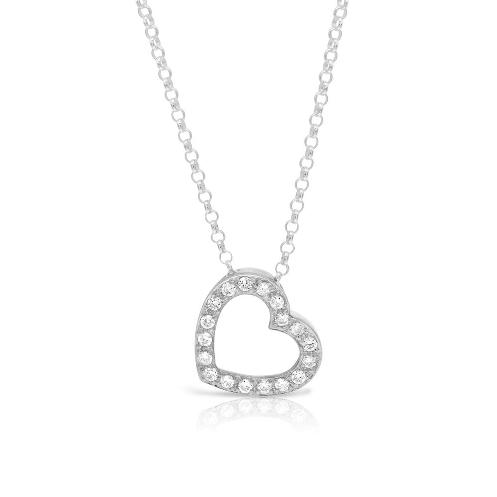 Large Heart Pendant with CZ Stones