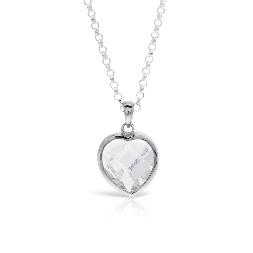 Cushion Cut Heart Necklace Silver Pendant - www.sparklingjewellery.com