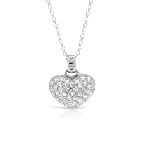 Deluxe Silver Heart with CZ Stones Pendant - www.sparklingjewellery.com