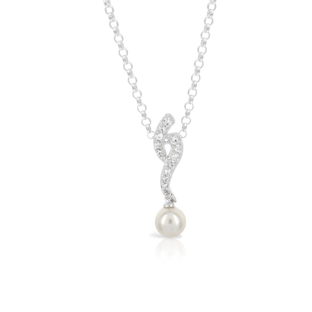 Curved Pearl Silver Pendant