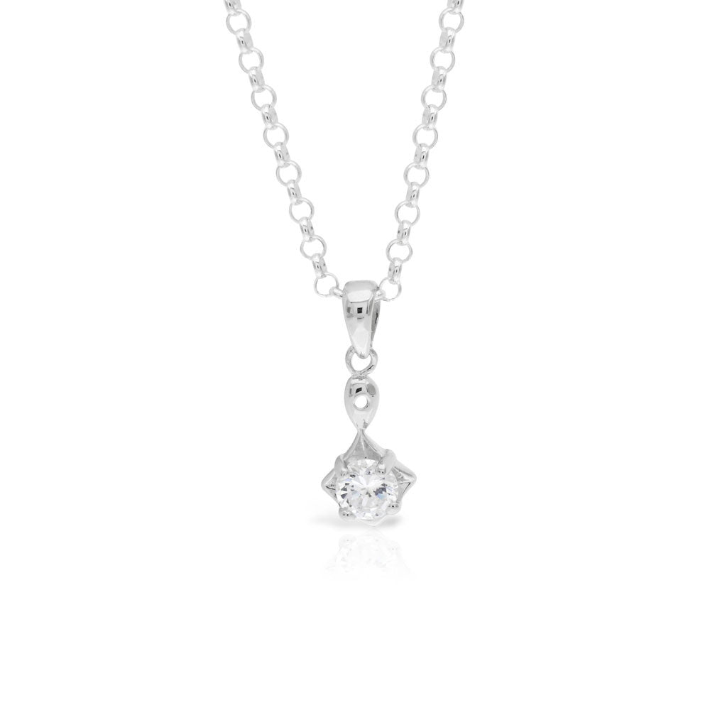 Silver Diamond Shaped Solitaire Pendant - www.sparklingjewellery.com