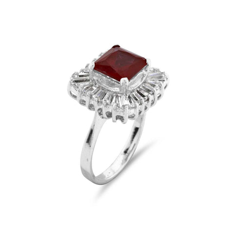 Ruby and Baguette Cut Cocktail Silver Ring