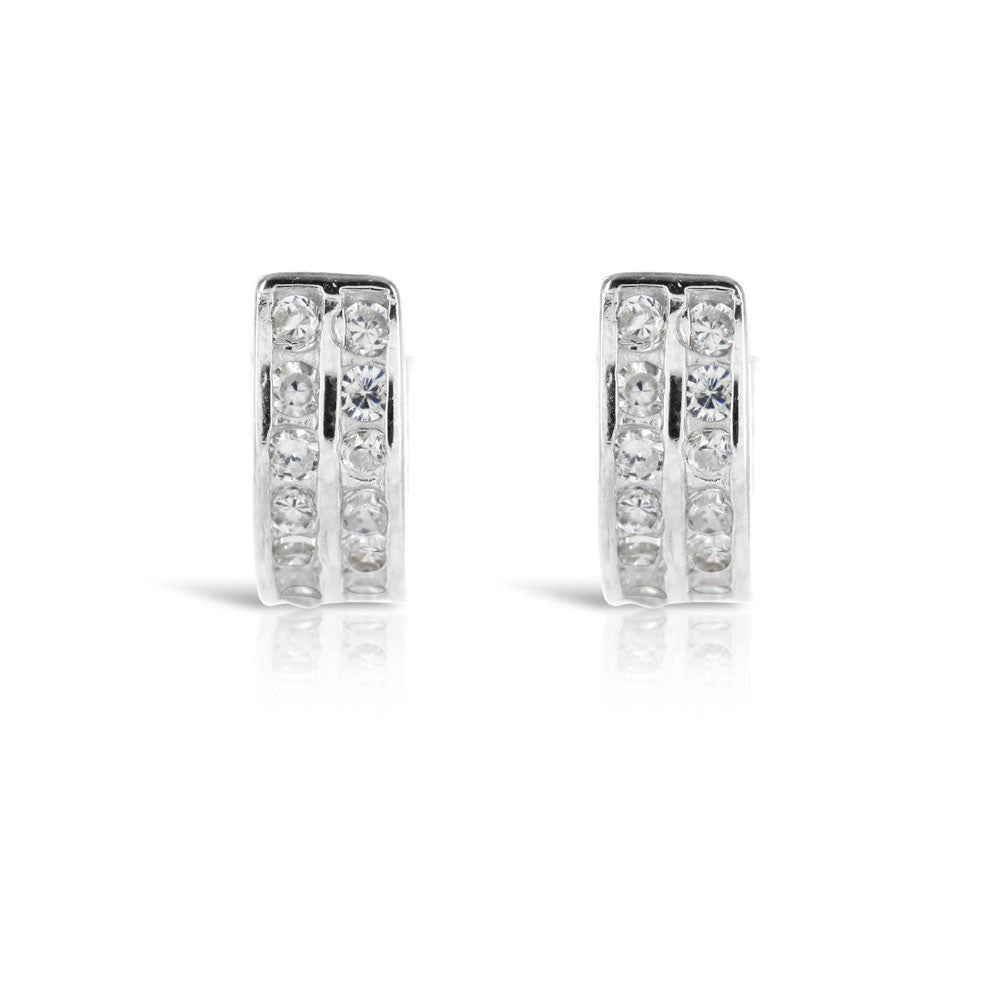 Double Row Silver and CZ Huggy Earrings - www.sparklingjewellery.com