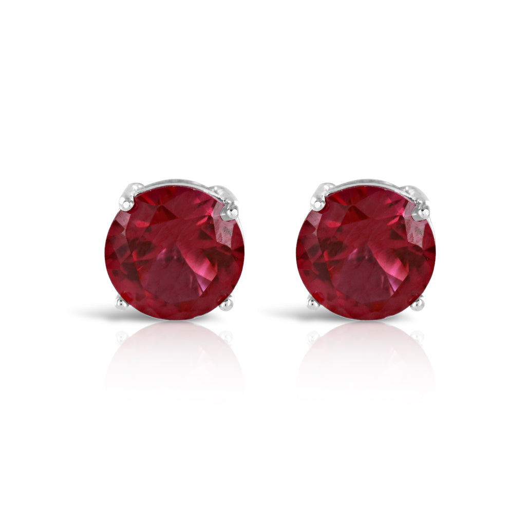 Vivid Red Stud Earrings - www.sparklingjewellery.com