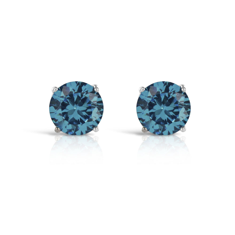 London Topaz 1 Carat Round Stud Earrings - www.sparklingjewellery.com