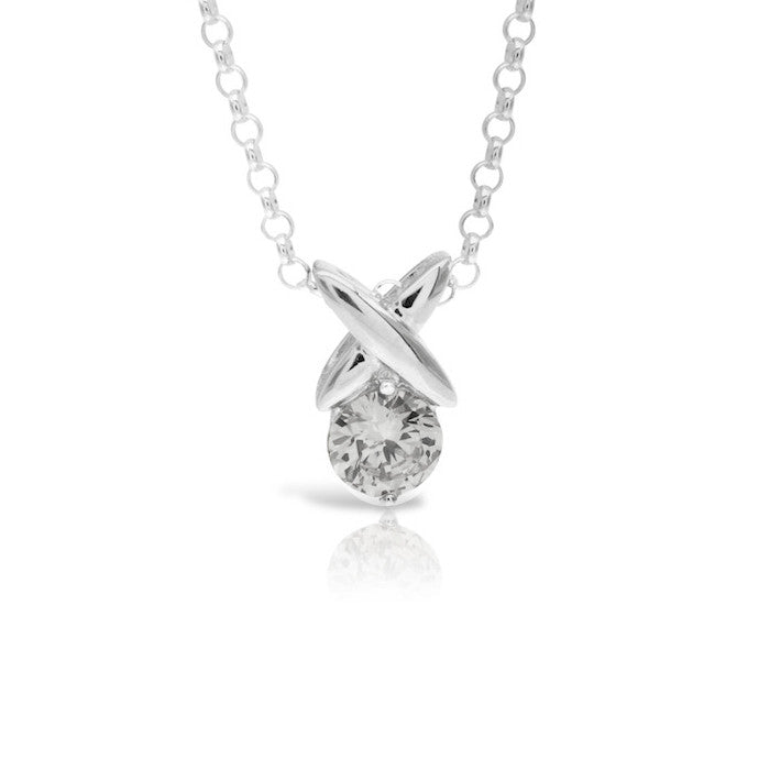 Kiss Solitaire Pendant Clear