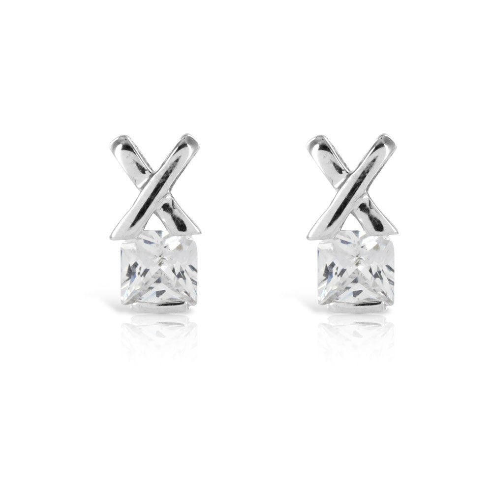 White Kiss Solitaire Silver Earrings - www.sparklingjewellery.com