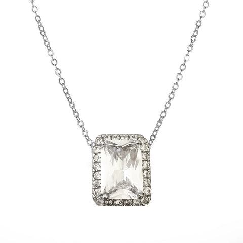 Emerald Cut Halo Pendant - Large