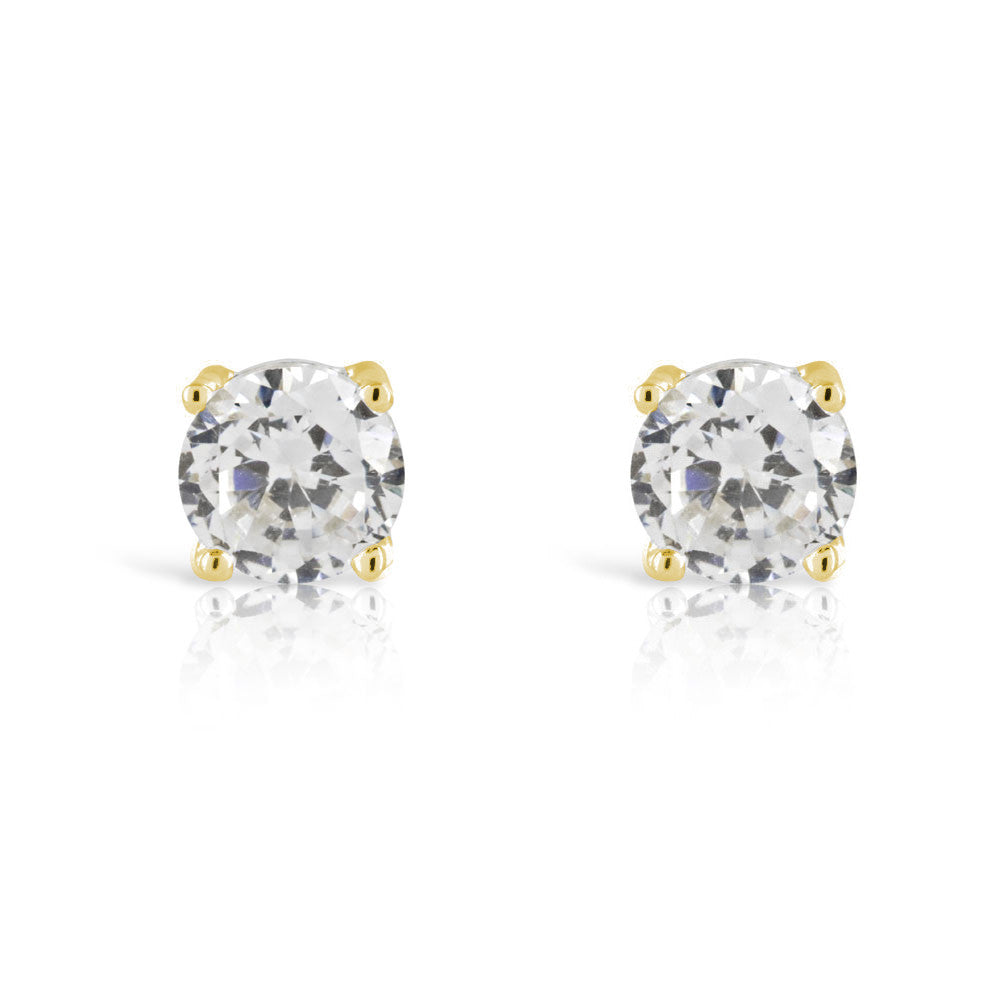 Gold 1ct Stud Simulated Diamond Earrings