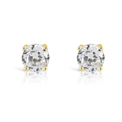 Gold 1ct Stud Simulated Diamond Earrings - www.sparklingjewellery.com