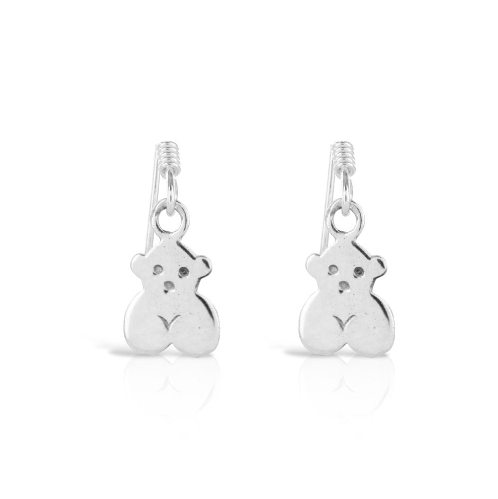 Silver Teddy Bear Earrings - www.sparklingjewellery.com