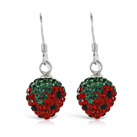 Crystal Silver Strawberry Earrings