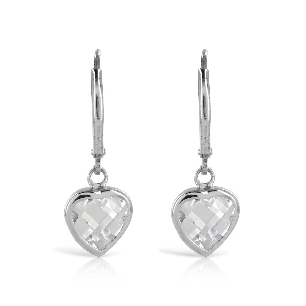 Silver Heart Drop Earrings - www.sparklingjewellery.com