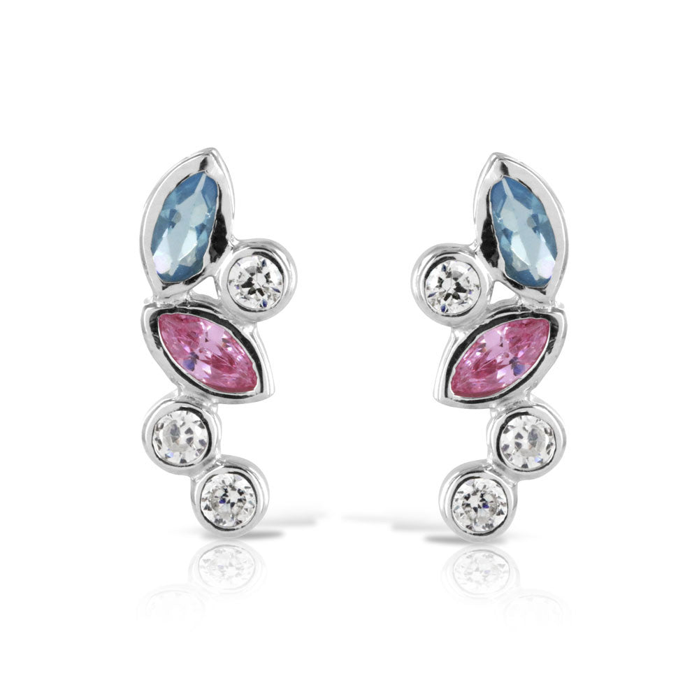 Pink & Blue Topaz Earrings - www.sparklingjewellery.com