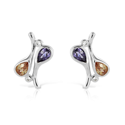 Amethyst and Citrine Earrings - www.sparklingjewellery.com