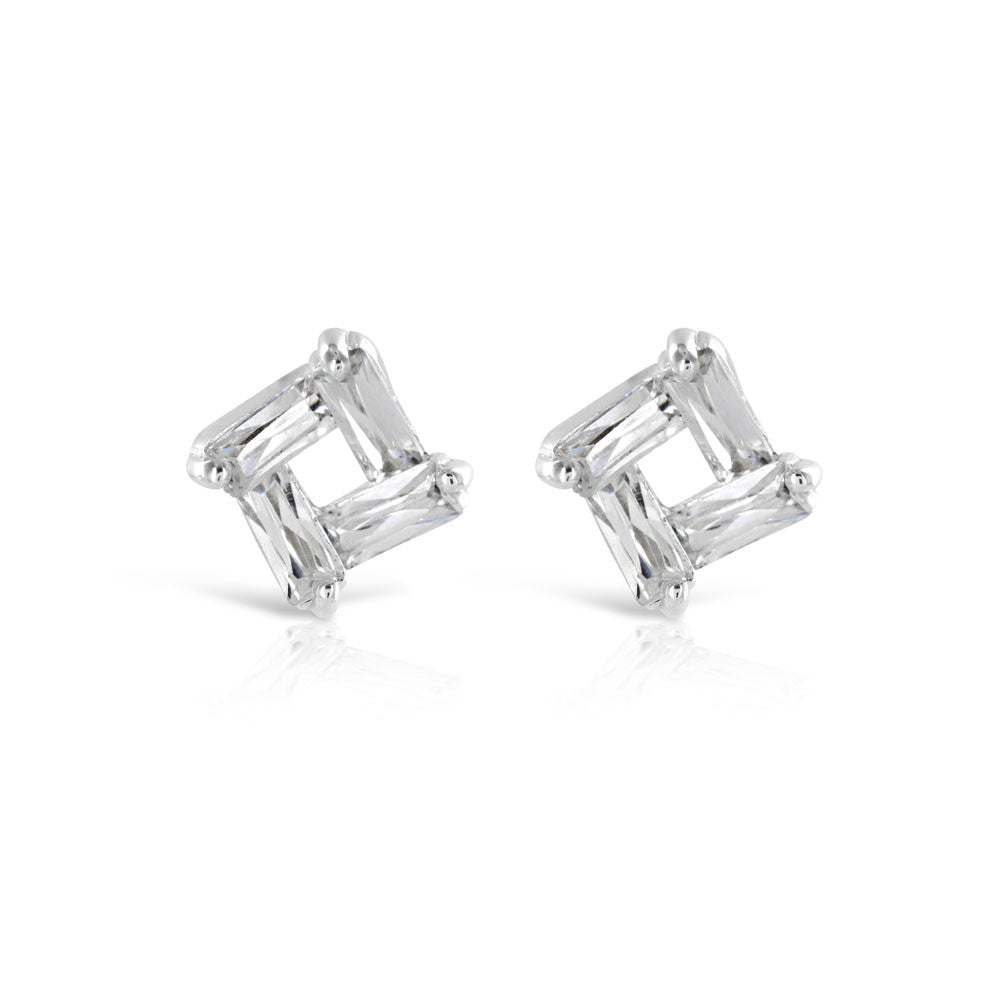 Abstract Silver Stud Earrings - www.sparklingjewellery.com