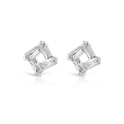 Abstract Silver Stud Earrings