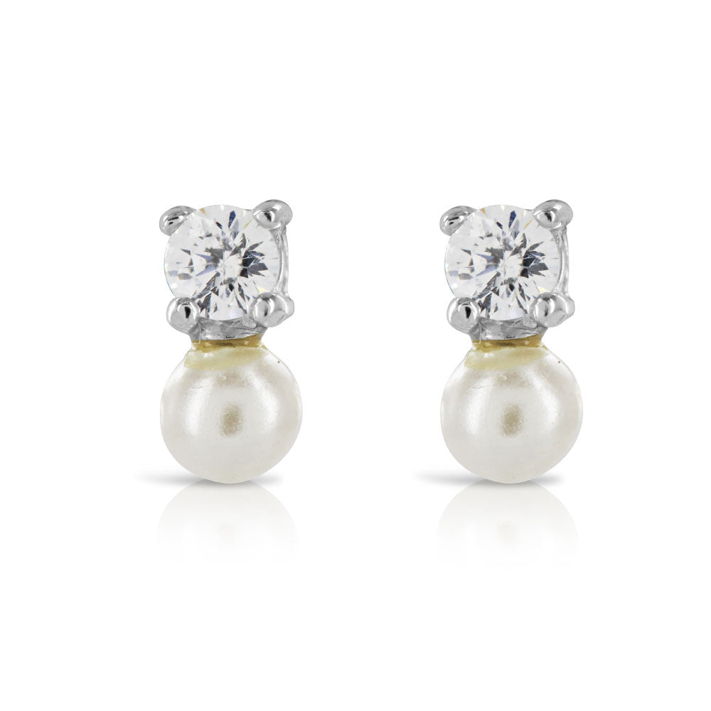 Tiny Pearl Bridesmaid Earrings - www.sparklingjewellery.com