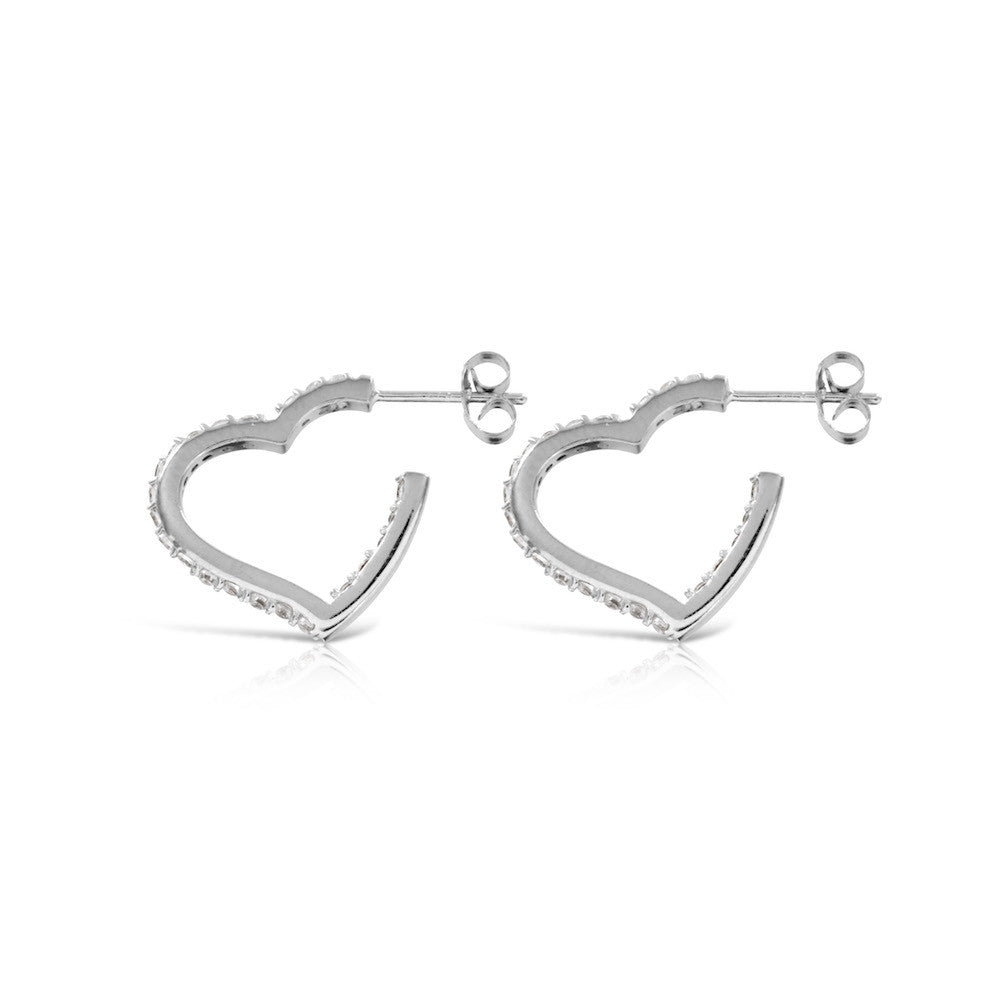 Heart Hoop Silver Stud Earrings - www.sparklingjewellery.com