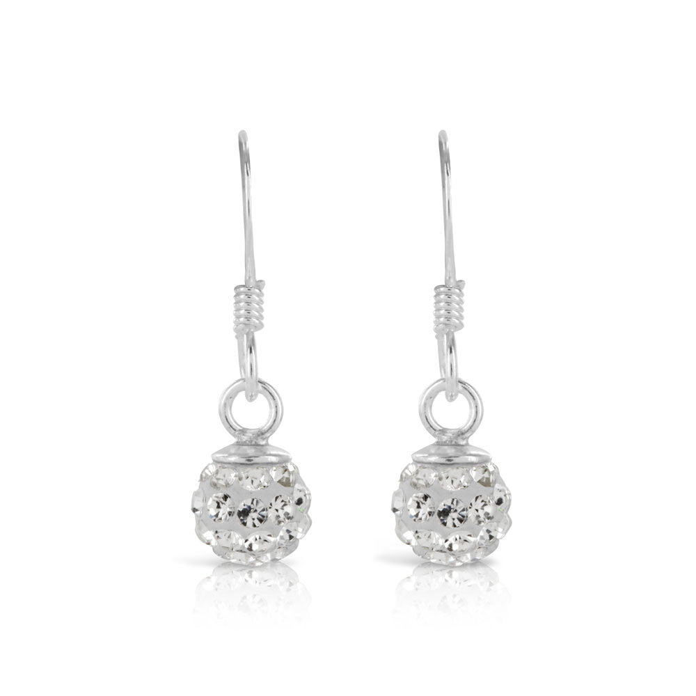 Shamballa Drop Silver Earrings