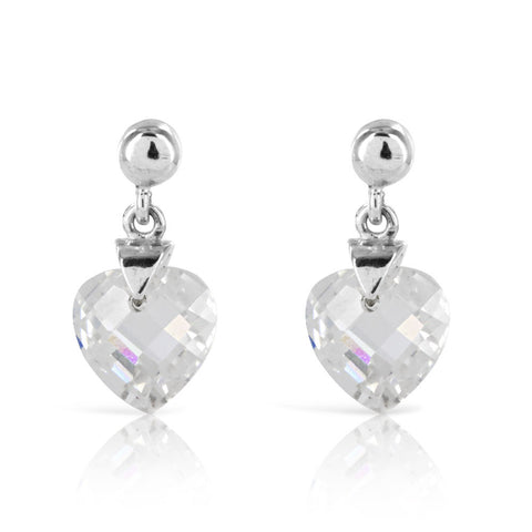 Faceted Heart Silver Earrings - www.sparklingjewellery.com