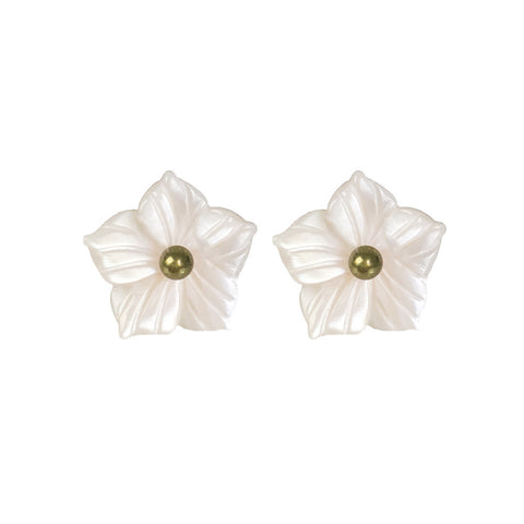 Pink Flower Mother of Pearl Earrings