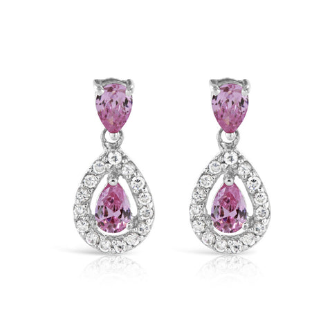 Pink Garnet Sterling Silver Drop Earrings - www.sparklingjewellery.com