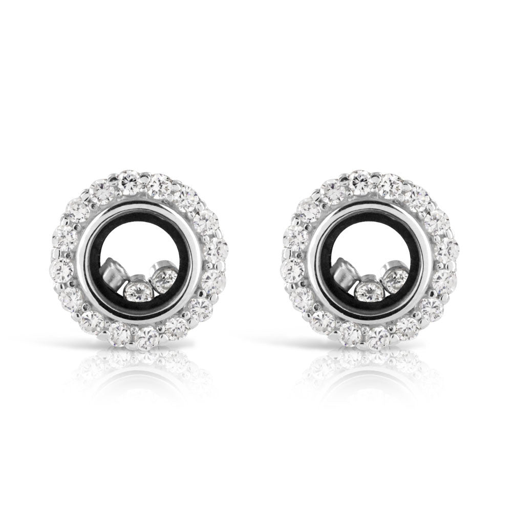 Floating Happy Diamond Halo Silver Earrings