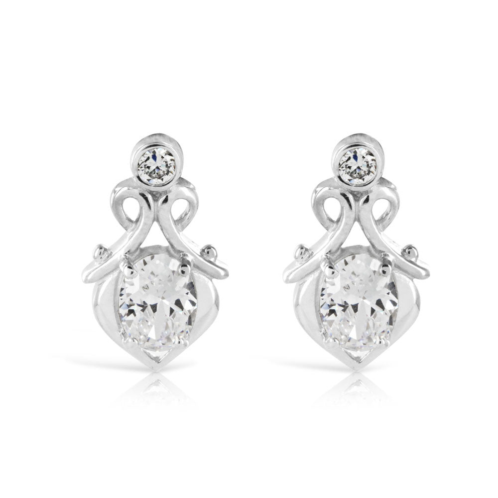 Edwardian Style Silver Drop Earrings - www.sparklingjewellery.com