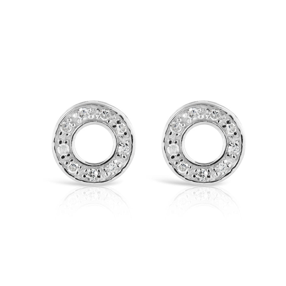 Polo Stud Silver Earrings - www.sparklingjewellery.com
