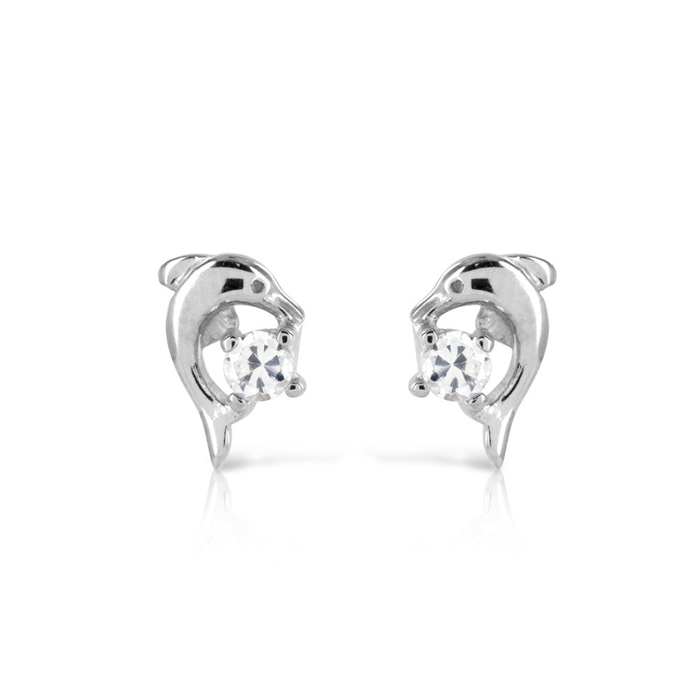 925 Sterling Silver Dolphin Stud Earrings - www.sparklingjewellery.com