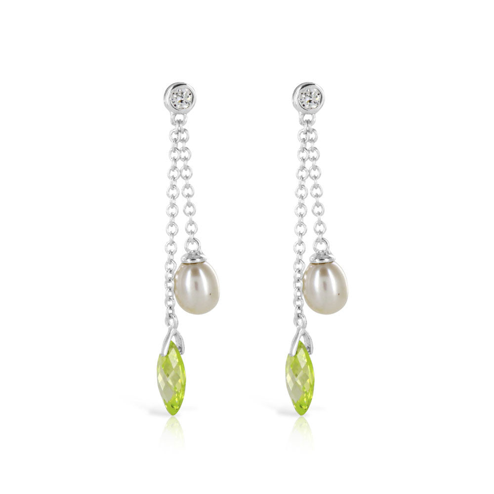 Pearl Peridot Silver Drop Earrings