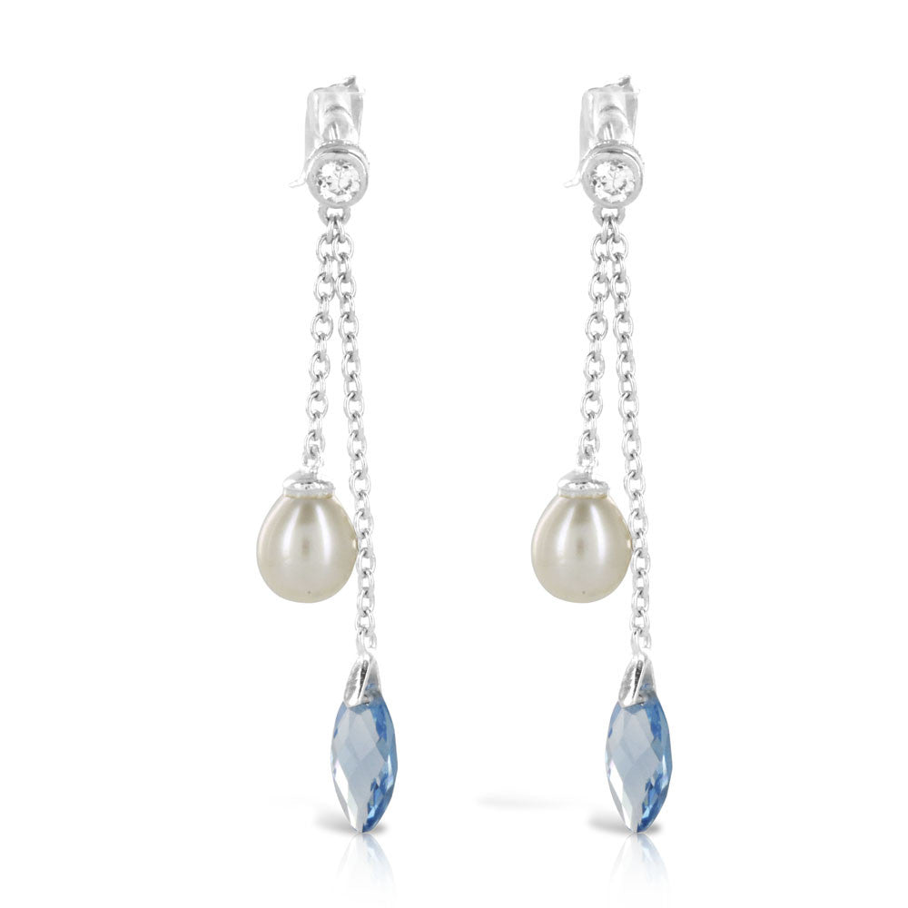 Pearl Aqua Silver Drop Earrings - www.sparklingjewellery.com