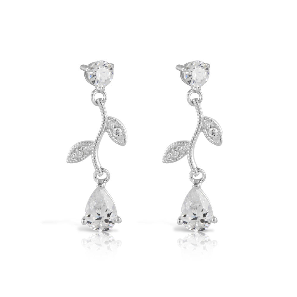 Organic Bridal Silver Dangle Earrings - www.sparklingjewellery.com