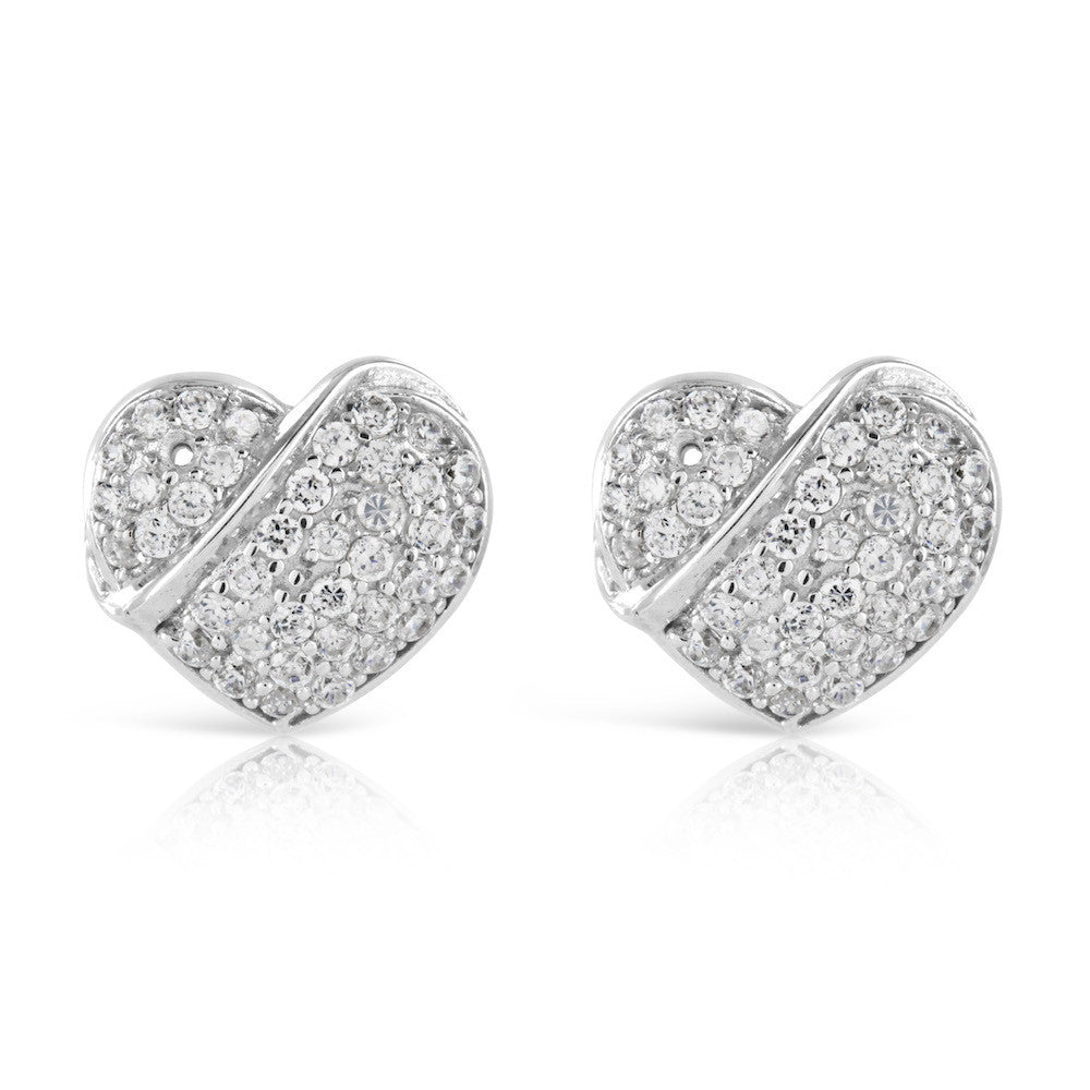 Silver Pave Heart Stud Rings - www.sparklingjewellery.com