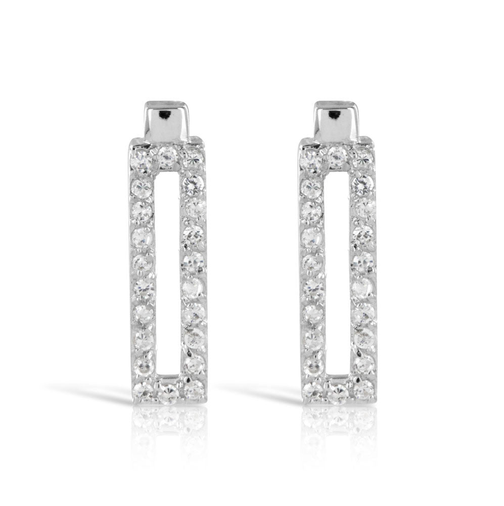Micro Pave Rectangular Silver Earrings - www.sparklingjewellery.com