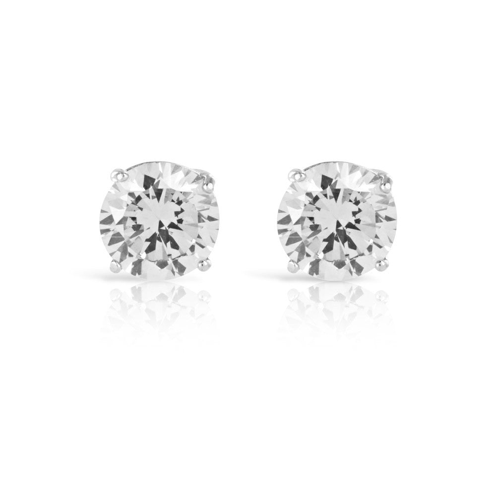 Silver Stud Earrings Clear Solitaire 1ct